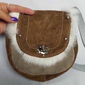 Handmade Leather rabbit fur shoulder saddle bag